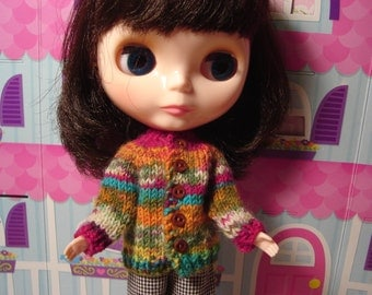 Sporty Striped Wool Sweater and Socks for Blythe, Pullip and Vintage Skipper