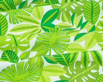 Tropical Foliage in White - See You Later Collection by Maude Asbury for Blend Fabrics - fabric by the quarter yard
