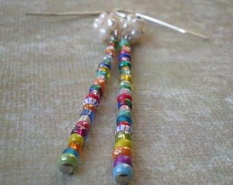 Colorful Bead Stick Earrings / Multicolor Earrings / Freshwater Pearl Cluster / Gift Teen Girl / Birthday Granddaughter / Whimsical Earring