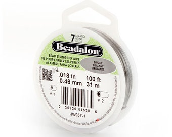 Beadalon Silver Wire, 7 Strand, Bright Silver, Jewelry Supplies, Beading Wire, 0.018 inch, 100 feet, Made in USA, Silver Bead Wire,