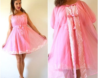 FLASH SALE / 25% off Vintage 60s 70s Flamingo Pink Nylon Nightgown and Peignoir Set