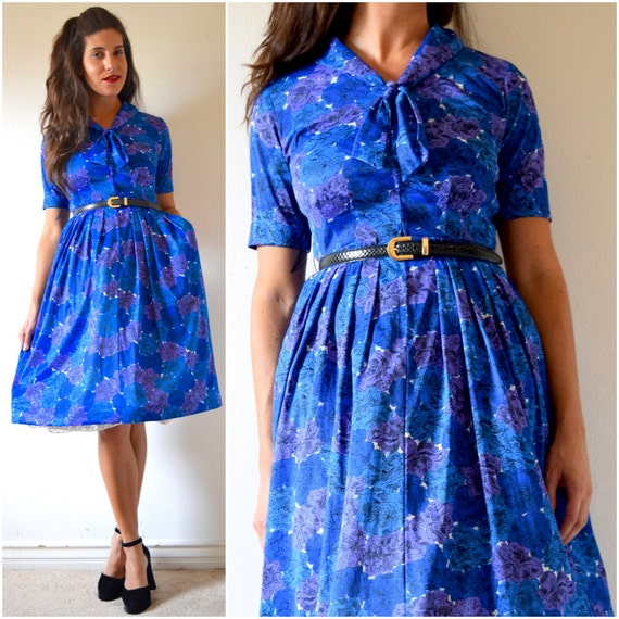 Vintage 50s 60s Shelton Stroller Blue and Purple Floral Shirt Waist Dress with Kitten Bow Collar (size small, medium)