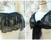 Vintage 1900s French black lace  + fringes timeworn
