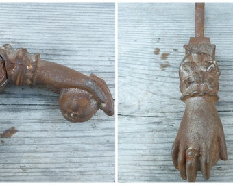 Vintage Antique 1900 old French cast iron hand door knocker /door knob/handle