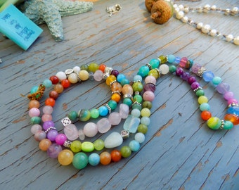 Colourful all gemstone wrap bracelet or necklace , natural earthy jewelry