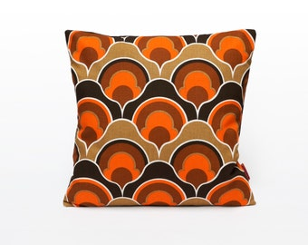 Orange Mid Century Modern Pillow Cover | Retro Cushion Cover | Throw Pillow | Decorative Pillow | Handmade from Vintage Fabric by EllaOsix
