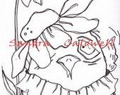530 Flower Chick Digi Stamp