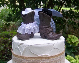 Rustic Cake Topper-His and Her Western Cowboy Boots-Wedding Cake Topper-Barn Wedding, NEW Larger Boots