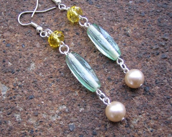 Eco-Friendly Dangle Earrings - Younger Than Springtime - Recycled Vintage Pale Green Glass Beads, Yellow Crystals with Creamy White Pearls