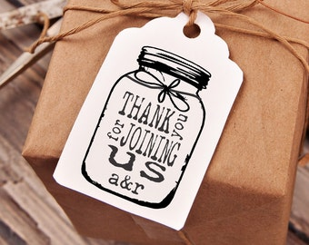 Mason Jar rubber stamp for DIY personalized wedding favors and tags 5 x 3