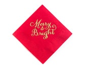 Gold Foiled Merry & Bright Christmas Napkins - Red