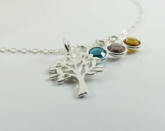 THREE DAY SALE Family Tree of Life Necklace Personalized Necklace Child Birthstone Jewelry Grandma Mom Gift Idea Sterling Silver