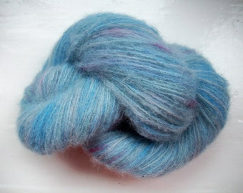 Hand painted yarn, brushed baby alpaca silk, laceweight, mid smoky blue 2 x 25g by SpinningStreak