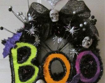 Halloween Wreath Door Hanger Spider and Skulls Boo Wreath for the Front Door or Wall Hanging by Craftylittlekitten