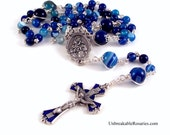 Custom Order For Nadinedemers   Madonna and Child Crest Rosary Beads In Striped Blue Agate By Unbreakable Rosaries