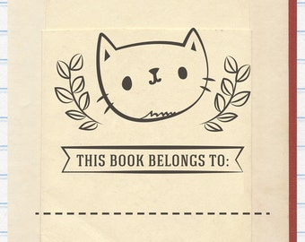 Cat Book Stamp, Kitten Book Stamp, This Book Belongs to Stamp