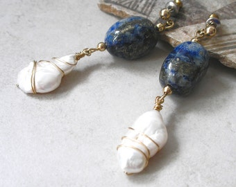 Boho Chic Lapis Lazuli Earrings Pearls Gold Wire Wrapped Gemstones For Her