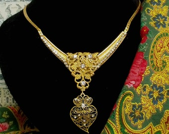 Heart of Viana Portuguese filigree rhinestones necklace-Get home page Coupon
