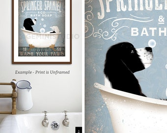 Springer Spaniel dog bath soap Company vintage style artwork by Stephen Fowler Giclee Signed Print