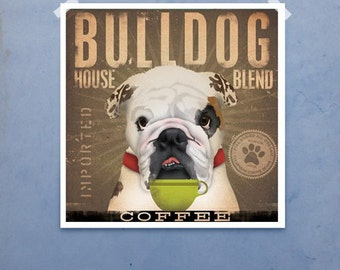 English Bulldog Coffee Company graphic art illustration signed giclee archival artist's print by stephen fowler