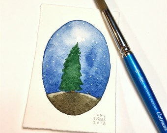 Waiting for Christmas Tiny Watercolor Original Painting Free Shipping