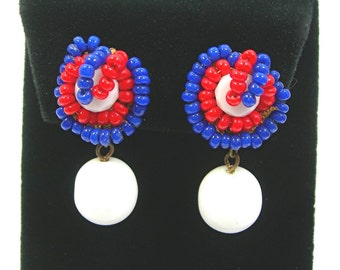 Miriam Haskell Beaded Drop Earrings, Clip Screw, Red White Blue Seed Beads, White Milkglass Bead, Patriotic Colors, Vintage 1950s Jewelry