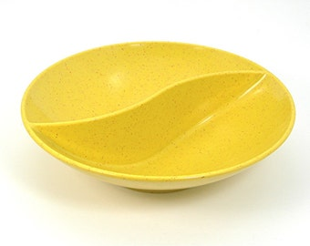Melamine Vegetable Bowl, Yellow Speckled, Divided Sections, Holiday by Kenro, Vintage c1960-70s Dinnerware, Plastic Kitchen Collectible