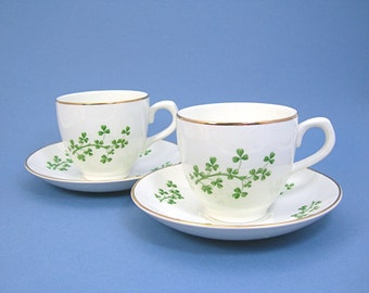 Arklow Shamrock Teacup & Saucer, Vintage Smooth Rim, 2 Sets, Produced Republic of Ireland, Cream, Green Shamrocks, Gold Trim ARK43 Pattern