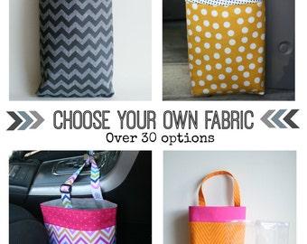 Choose Your Own Fabric - Car Litter Bag - Car Trash Bag -  Car Garbage Bag -