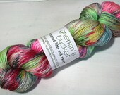 hand dyed yarn - SW Silk Sock - Spray Painted Lily colorway