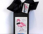 Pink Flamingo Black Paper Gift Bag Set with Matching Tag & Black Tissue