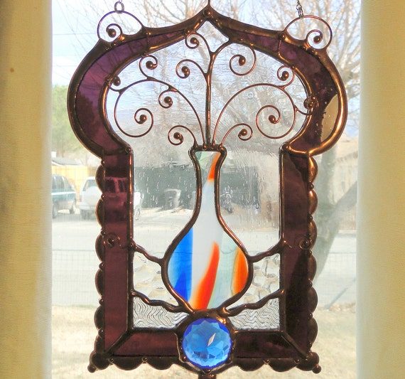 Genie Bottle Stained Glass Window
