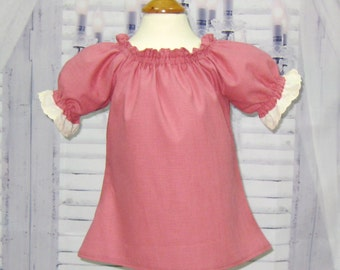 Dusty Rose Peasant Top  12M To 7, Peasant Top, Girls Peasant Top,  Pink Blouse, Girl Blouse, Toddler Blouse, Toddler Top,Top With Lace