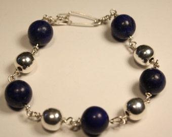 Lapis Lazuli Sterling Silver Bracelet Beaded Bracelet Denim Blue Jewelry Silver Bead Bracelet Casual Jewelry Pulsera Lapis Lazuli Plata 925
