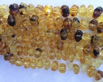 Amber Beads, Chiapas Amber beads, Graduated Peyote Cut Mexican Amber Beads, Honey Amber Beads, Peyote Shaped Beads, Mexico Amber Beads
