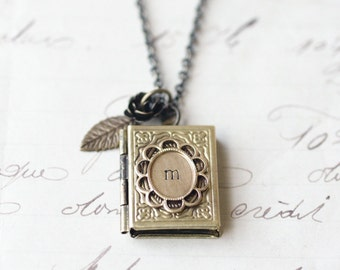 Initial book locket necklace personalized brass flower vintage style retro hand stamped gift for her