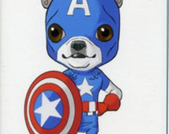 Boston terrier art, magnet, Captian America avengers - Boston Terrier magnet