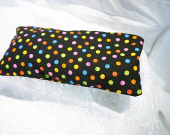 Eye Pillow - Heat Pack with Removable Cover -  Polka dot Multi colour Cotton - Handmade