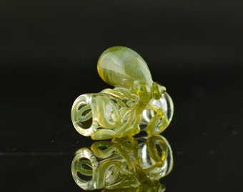 Octopus Dread Bead Hand Blown Full Color Glass in Clear & Andromeda, Ready to Ship #438