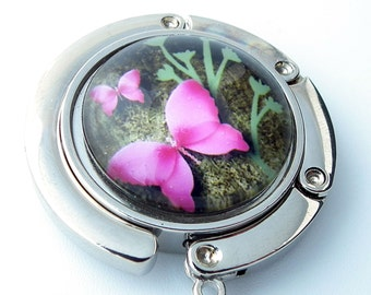 Pink Butterfly - Photo Glass Cabochon, Purse Hook