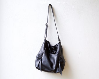 new Pillow Bucket -  slouchy leather cross body bag - soft black leather shoulder bag - bouncy and light