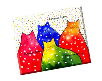 Abstract Cat Art Print Colorful Fiesta Polka Dot Kitties Whimiscal Cat Art Cat Lover Cat Gift Home Decor Cat Artwork by Denise Every