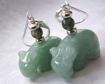 hippopotamus jewelry - hippo earrings - green aventurine carved stone - adventuring hippo earrings - Gwynstone handmade