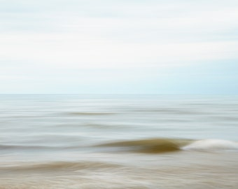 Modern Abstract Beach Photography - Sofa Art - Soothing Large Horizontal Blue Wall Art - Lake House Dining Room Decor
