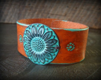 Sun Flower, Verdigris, Leather Cuff, Cuff, Bracelet, Turquoise,  Tribal, Rustic, Organic, Primitive,  Leather Cuff Bracelet