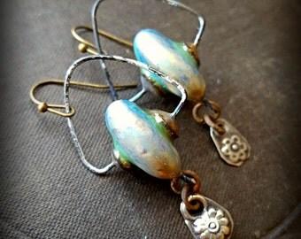Porcelain, Earthstone, Hoop, Brass, Discs, Connectors, Kuchi Banjara, Flower, Dangle, Rustic,Tribal, Boho Beaded Earrings