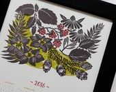 2016 Calendar, Letterpress Wall Calendar, Poster Calendar, Botanical Illustration Calendar, New Years, Year at a Glance