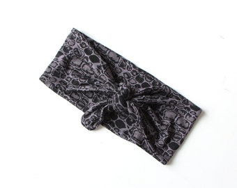 Tie Up Headscarf // Fashion Headband // Stretch Hair Wrap // Black Grey Crocodile Print