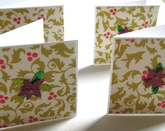 Teeny Tiny Poinsettia Mini Cards - Set of 4 Blank Christmas Cards