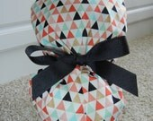 Fold Up Ponytail Scrub Hat in Tiny Triangles METALLIC CHOOSE RIBBON Color